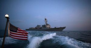 The guided-missile destroyer USS Truxtun in the Black Sea yesterday. The US destroyer carried out a naval exercise with other ships in the latest display of American military power just a few hundred kilometres from Crimea. Photograph: Stoyan Nenov/Reuters