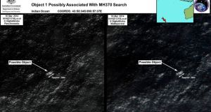 Satellite imagery provided to Australian Maritime Safety Authority (AMSA) of objects that may be possible debris of the missing Malaysia Airlines Flight MH370 in a revised area 185 km  to the south east of the original search area . Photograph: Australian Maritime Safety Authority/Handout / REUTERS