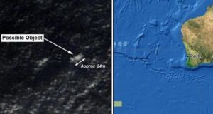 A composite image showing (left) a satellite image provided to Australian Maritime Safety Authority (AMSA) of an object that may be debris from the missing Malaysia Airlines Flight MH370. The map (right) shows the location of the possible debris off the south west coast of Australia. Image: Reuters/EPA