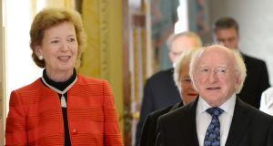 A file image of President Michael D Higgin with former president Mary Robinson at Aras an Uachtarain. Mr Higgins is likely to join Ms Robinson in being conferred with the freedom of Cork city. Photograph: Alan Betson/The Irish Times
