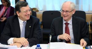 European Commission President Jose Manuel Barroso and European Council President Herman Van Rompuy (right) attend a Tripartite Social Summit ahead of an EU leaders meeting in Brussels earlier this month. Photograph: Francois Lenoir/Reuters