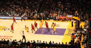 LA Lakers playing the Phoenix Suns in the Staples Centre