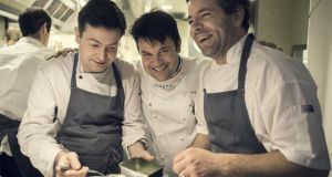 Conor Cockram and Enda McEvoy with Éric Trochon (centre), head chef at Semilla bistro in St Germain. Photographs: Éric Fenot