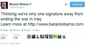 US president Barack Obama's first foray into the world of Twitter.
