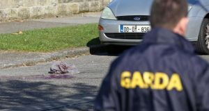 The scene of a shooting on Holywell Avenmue, Donaghmede, Dublin this morning. Photograph: Collins.