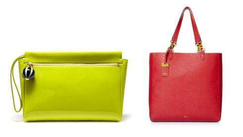 Yellow Katie clutch, 315, Lulu Guinness at Arnotts Novelty red tote, 169, Ralph Lauren at Arnotts