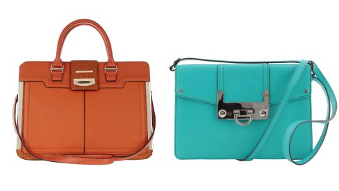 Orange bag, 60, River Island Green clutch, 250, Milly Bryant at Arnotts