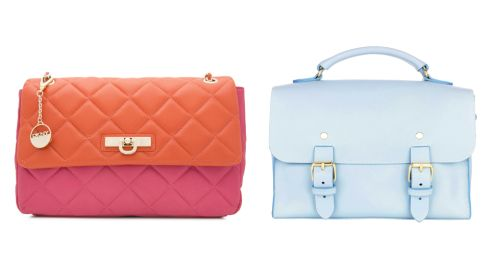 Two-tone quilted shoulder bag, 245, DKNY at Harvey Nichols Large pale blue satchel, 399, Best of British Collection at M&S