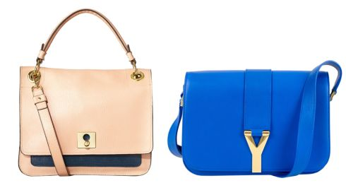 Ivy bag, 432, Orla Kiely at Kilkenny Shop Blue Paris satchel, 1295, Yves Saint Laurent at Brown Thomas