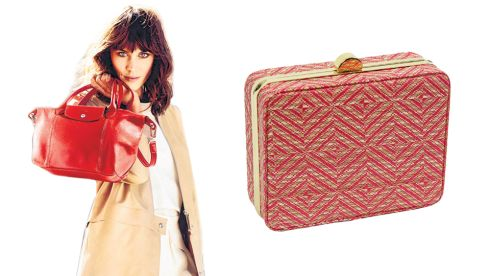 Red Le Pliage Vermillion bag, 385, Longchamp at Harvey Nichols Straw clutch, 11, in Penneys stores end of March