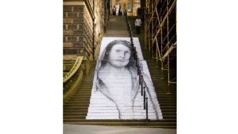 Warriston Staircase, Edinburgh, 2012. Photograph: Joe Caslin. If you would like to volunteer to work with Joe Caslin on his large-scale street art installations, contact information can be had at www.joecaslin.com