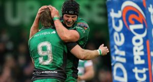 Connacht's Kieran Marmion (left) and  Eoghan Masterson are set to start against Dragons. Photograph: James Crombie/Inpho