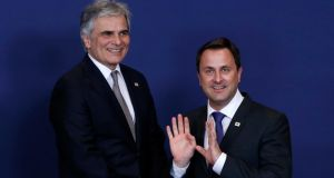 Austrian chancellor Werner Faymann and Luxembourg's prime minister, Xavier Bettel,  in Brussels this week.  Photograph: Yves Herman/Reuters