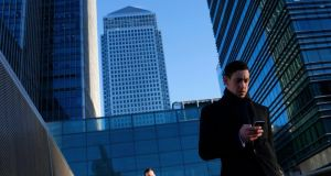 Canary Wharf: London's financial services hubs is now home to a cluster of fledgling banking technology companies. photograph: eddie keogh/reuters