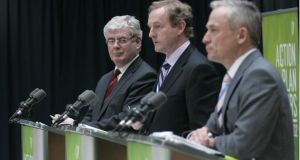 'The Government has managed to keep up the pressure  on the job creation front.' Above,   Enda Kenny, Eamon Gilmore, Richard Bruton at the launch of the Action Plan for Jobs in 2012. Photographer: Dara Mac Dónaill