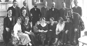 The Irish contingent in Hans Place, London during the Treaty negotiations in 1921, including Kathleen McKenna, third right, seated in front of Arthur Griffith