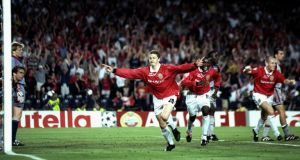 Ole Gunnar Solskjaer of Manchester United celebrates his late winner in the Champions League final against Bayern Munich at the Nou Camp in Barcelona in May 1999. The two sides have been drawn together in  this year's quarter-finals. Photograph: Ben Radford/Allsport