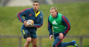 Simon Zebo and Keith Earls. Earls, now recovered from injury, starts against Treviso while Zebo will be on the bench. Photo: Cathal Noonan/Inpho