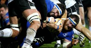 Leinster's Martin Moore and Michael Bent get go-forward ball at the RDS. Photograph: James Crombie/Inpho