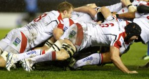 Ulster's Stephen Ferris (number six) at the back of a scrum on his first start in 16 months. Photograph: Russell Cheyne /Inpho