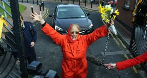 Margaretta D'Arcy is seen during her  release from Mountjoy prison in Dublin today. Photograph:  Nick Bradshaw/The Irish Times