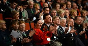 Delegates in Killarney at the 75th Fianna Fáil Ard Fheis today. Photograph: Cyril Byrne / The Irish Times