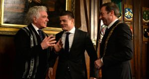 Dublin's Lord Mayor, Oisín Quinn (right) conferred the Honorary Freedom of the City of Dublin on Fr Peter McVerry(left)  and Brian O'Driscoll, at the Mansion House, Dawson Street, Dublin last night. Photograph; Dara Mac Dónaill/The Irish Times