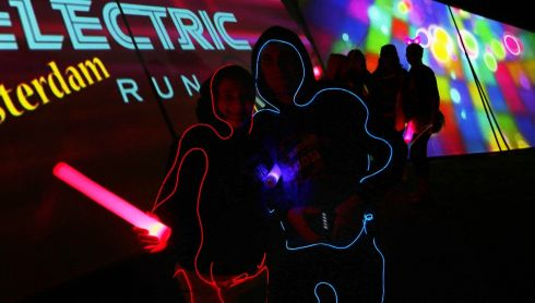 The Electric Run is a night time 5K  Run/Walk experience where the participants are an integrative part of the show. Photograph:  Nick Bradshaw