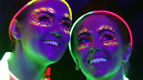 Entrants will be greeted by a magical setting of laser light shows, energising dance music, colourful inflatable worlds, glow sticks, glow glasses and anything neon.  Photographed here are Jennifer Jago and Jeannette Traynor both from Clondalkin.  Photograph: Nick Bradshaw
