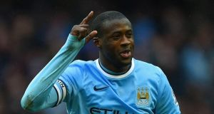 Yaya Toure of Manchester City celebrates scoring his hat trick during the Barclays Premier League match between Manchester City and Fulham at Etihad Stadium  in Manchester at the weekend. Photograph: Michael Regan/Getty Images
