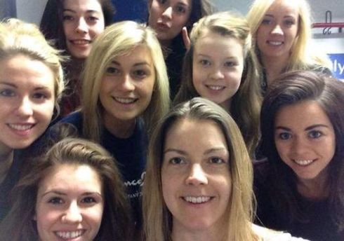 The Riverdance girls get together for their #Nomakeupselfie.