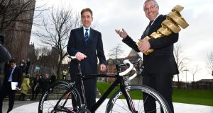 Cyclists Stephen Roche and Sean Kelly, at announcement in Dublin last year. Photographer: Dara Mac Dónaill/The Irish Times