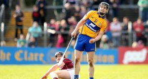 Clare's Tony Kelly watches the flight of a shot during the NHL Division IA against Galway at Cusack Park in Ennis. Last year's hurler of the year impressed on Sunday. Photograph: James Crombie/Inpho
