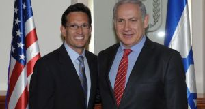 Republican congressman Eric Cantor  with Israel's prime minister Benjamin Netanyahu. In 2012, Mr Cantor famously commemorated Labor Day with a Twitter post honouring business owners. Photograph: Amos Ben Gershom GPO via Getty Images)