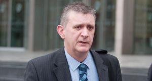 Det Sgt Brian Mahon of the Garda Bureau of Fraud Investigation at Dublin Circuit Criminal Court yesterday, where he gave evidence of his Garda interview in April 2010 with Pat Whelan. Photograph: Collins