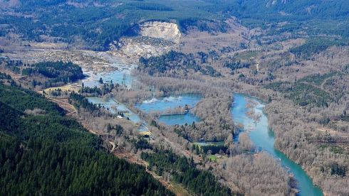 An overview of a massive mudslide in Oso, Washington state, US, which has claimed the lives of an as yet uncertain number of people.  Photograph: State of Washington/New York Times