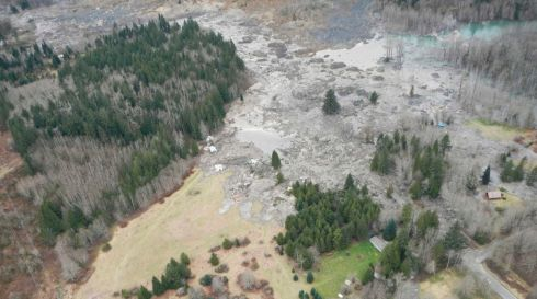 Mud lies where it flowed right across the landscape. Photograph: Washington State Department of Transportation/Reuters