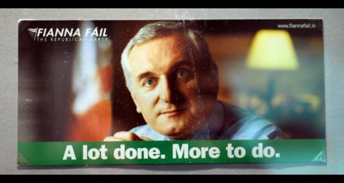 A Bertie Ahern/Fianna Fáil poster among items from the Irish Political Ephemera exhibition running at the National Print Museum, Beggars Bush, Dublin. Photograph: Eric Luke/The Irish Time