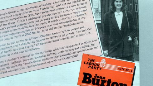 Joan Burton and the Labour Party on display at the Irish Political Ephemera exhibition. Photograph: Eric Luke/The Irish Time