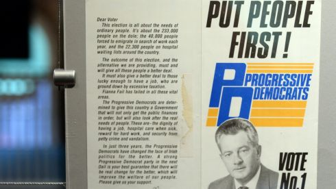 Put People First! Des O'Malley and the Progressive Democrats. Photograph: Eric Luke/The Irish Time