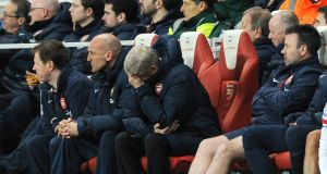 Arsenal's manager Arsene Wenger can't hide his disappointment during the 2-2 draw with Swansea. Photograph: EPA