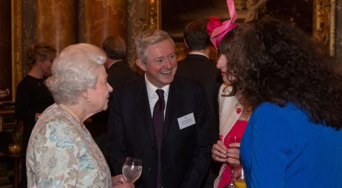 "The Queen talks to guests including Louis Walsh at the Irish Community Reception. A spokesman from Buckingham Palace said ""It was a really fun evening - great company and extremely relaxed. Her Majesty seemed to enjoy the craic."" Photograph: Steve Parsons/WPA Pool/Getty Images"