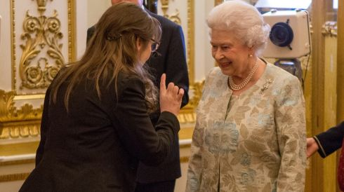 Queen Elizabeth II meets Pauline McLynn at the Irish Community Reception at Buckingham Palace. Photograph: Steve Parsons/WPA Pool/Getty Images