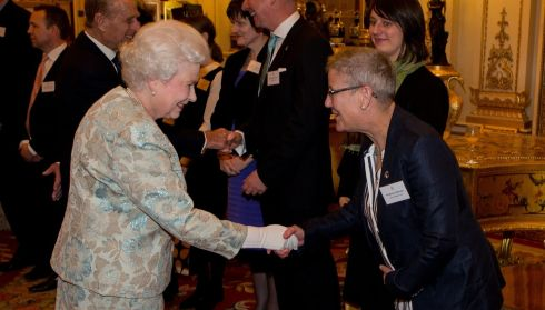 The Queen meets Bernie O'Roarke at the Irish Community Reception. Photograph: Steve Parsons/WPA Pool/Getty Images
