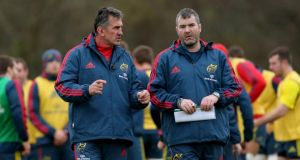 "Rob Penney (left) will want to end his tenure on a winning note before handing over to Munster favourite Anthony ""Axel"" Foley. Photograph: Inpho"