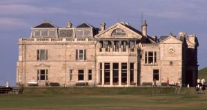 The  clubhouse on the Old Course at St Andrews in Fife, Scotland, home of the Royal and Ancient.