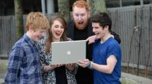 Singer songwriter Gavin James, (2nd from right) with students from left; Liam Neeson, Colaiste Oiriall, Monaghan, Lia Grogan, Presentation Thurles and Jason Moore, St. Kevins CC, Clondalkin, Dublin at the launch of Safer Internet Day 2014 in Dublin. Photograph; Dara Mac Dónaill / The Irish Times