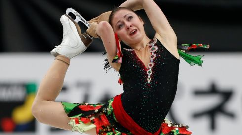 Switzerland's Anna Ovcharova competes in the World Figure Skating Championships in Japan. Photograph: Yuya Shino/Reuters