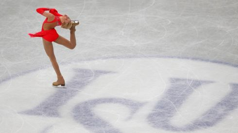 Russia's Anna Pogorilaya in action. Photograph: Toru Hanai/Reuters
