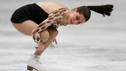 Spain's Sonia Lafuente makes a back-breaking effort. Photograph: Yuya Shino/Reuters